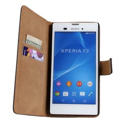 For Sony Xperia T3 Texture Genuine Wallet Leather Case Cover