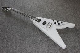 Voler v à vendre-Livraison gratuite guitare électrique costom volant v guitare électrique ébène fretboard blanc