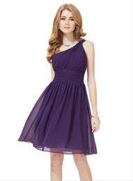 Custom Made One Shoulder Ruffles Knee Length Chiffon Sheath Column Bridesmaid Dress
