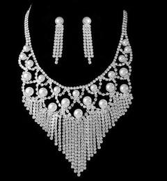 diamond pearl tassels wedding bride set necklace earings (ma52)