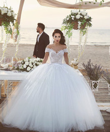 Ball Gown Wedding Dresses Lace Cap Sleeves Bridal Gowns Plus Size Lace Up Back Floor Length Tulle Formal Wedding Gowns