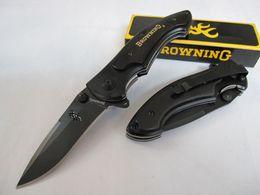 Browning 337 Black Ebony Wood Handle EDC Folding Pocket Survival Tactical Knife knives