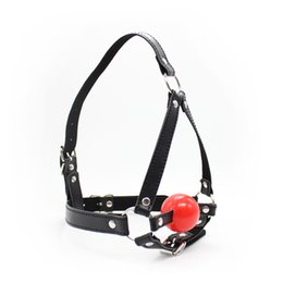 Sex Bondage Gear Head Harness Candy Apple Red Ball Gag with Adjustable Faux Leather Strap Restraint