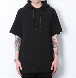Wholesale-2015 mens cotton short sleeve hip hop hoodie justin bieber kanye west clothes Men extended hoodie sweatshirts with zipper A064