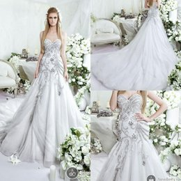 Wholesale Glamour Luxury Dar Sara Wedding Dresses Beaded Mermaid Tulle Bridal Gown with Sweetheart Neckline and Cathedral Train and Crystals