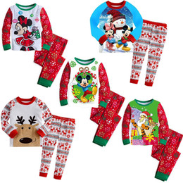 Wholesale 2015 Boys Girls Christmas Reindeer Rudolph Sleepwear Nightwear Pajamas Pyjamas Set kids Cartoon Pajamas Outfits