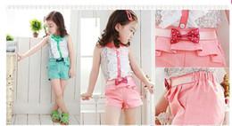 girls clothing sets summer 2015 shorts bow floral top fashion kids suits t shirt shorts fashion sleeveless shorts set girls free shipping