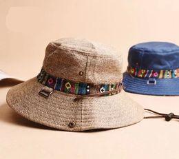 Wholesale-2015 new fashion hot sale design 100% hats for women fisherman linen cloth cap bucket hats sun hat sun visor outdoor climbing