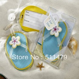 Wholesale Soft Rubber Luggage Tags - 100sets Lot+Beach Themed Wedding Favors and Gift Rubber Flip-Flop Luggage Tags Soft Luggage Tag Favors+FREE SHIPPING