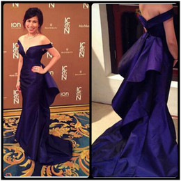 2016 Sexy Mermaid Evening Dresses Purple Color Custom Make Off The Shoulder Long Prom Gowns Tiered Train Sepecial Occasion Dresses