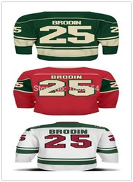 Cheap Best Authentic Minnesota #25 Jonas Brodin Jersey Color Green Red White 100% Stitched Ice Hockey Jerseys Hot Sale Wholesale