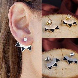 Wholesale Hot Women s Retro Alloy Fan Shape Triangle Earrings Curved Clip Ear Studs Jewelry