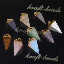 Wholesale 10Pcs Gold Plated Classic Four Corners Awl Shape Natural Amethyst Rose Quartz Crystal Gemstone Stone Pendants Necklace Jewelry