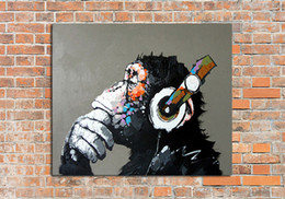 Wholesale Handmade Abstract Thinking Gorilla Art Oil Painting On Canvas For Living Room Decor Hang Group Of Paintings