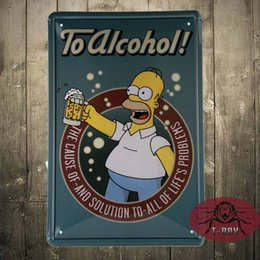 Wholesale Tin plate signs movie poster Homer Simpson TO ALCOHOL Art home decor House Cafe Bar Vintage metal wall art