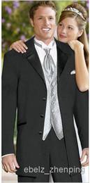 Wholesale new years custom made Mens Black Torino Tuxedo Package Prom Wedding Discount Bargain Jacket Pants Vest Tie