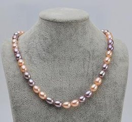 7-8mm Mixed Color Natural Rice Shaped Pearl Necklace 18inch Beaded Necklaces XL136- 2910