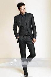Wholesale Three pieces man s tux suits Black Slim Fit Custom made tuxedo for men Groom Groomsmen Tuxedos men wedding suits Jacket Pant Vest