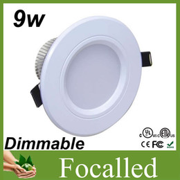 Hot Sale White Shell Led Downlights 9w dimmable Led Ceiling Light Bulb Recessed Lamp 110v 220v Warm   Cool White + Led Driver 50000h