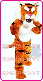 Wholesale Power Cat Tiger Mascot Costume Adult Size Wild Animal Theme Carnival Party Cosply Mascotte Mascota Outfit Suit Kit Fit SW1057