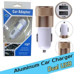 Wholesale 2 A Dual USB port Car Chargers Aluminum Alloy Metal Universal Fast Charging charger For Iphone Ipad HTC Samsung S7 with retail box