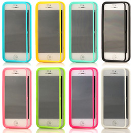 Wholesale Candy Colorful Soft TPU Transparent Clear Flip Cover Case For iPhone S Plus S Samsung Galaxy S7 edge S6 Note Touch Screen