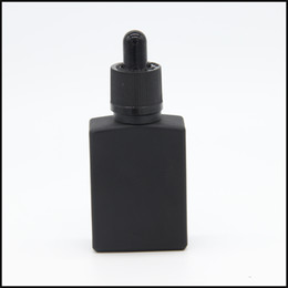 wholesale e cig liquid 15ml 30ml square matte black glass dropper bottle with childproof and tamper evident cap