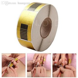 Wholesale-Nice Square 500pcs Gold Nail Art Form Essential for Acrylic Nail UV Gel Nail Tip Hot
