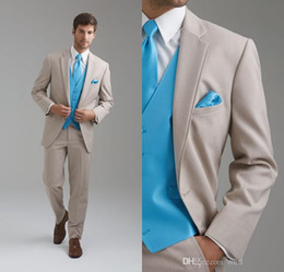 Leisure Slim Fit Two Buttons Business Groom Tuxedos Notch Lapel Beige Groomsmen Suits Custom Made Wedding Prom Suits For Men