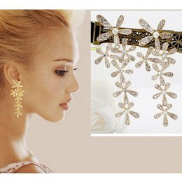 fashion and novel rhinestone flower tassel earrings for women  bride