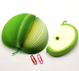 Wholesale-Dorabeads Novelty 3D Green Apple Fruit Memo Note Pads 150 Sheets,9.5x5cm,sold per pack of 2
