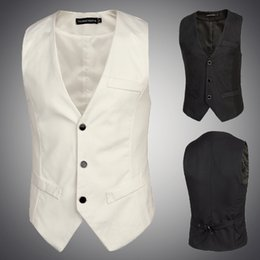2016 New Basic black and white suit vest Brand Formal Casual Business Men Suit Vest Slim Dress Vests Men's Fitted Waistcoat US size XS S M