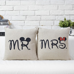 Creative Mouse MR MRS Print Cushion Cover Pillow Case Decorative Sofa Couch Car Linen Cotton Cushions Pillows Covers Wedding Present