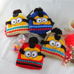 Wholesale Novelty Kids Despicable Me Hat Minions Knitted Beanies Hot Winter Warm Hats For Boys and Girls