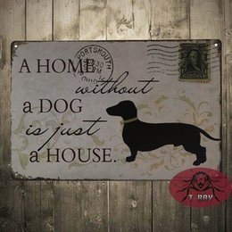 Wedding Decor A HOME WITHOUT DOG Retro Stamps Art Marquee Consol Metal Mix Item