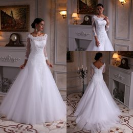 Custom Made Vintage Style A Line Long Sleeve Wedding Dress Sweep Train White Tulle Lace Bridal Gowns