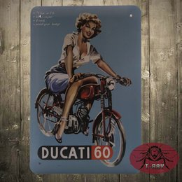 Wholesale DUCATI MOTORCYCLES EMBOSSED METAL STEEL ADVERTISING SIGN CALENDAR