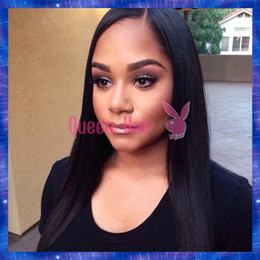 Free Shipping Long Lace Front Straight Human Hair Wigs Glueless Virgin Brazilian Silky Straight Full Lace Wigs For Women