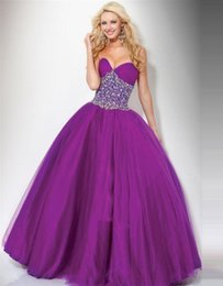 Wholesale Top Selling Beading SweetheartTrendy Style Beaded Grape Princess Dresses with Bowknots Prom Dresses Evening Party Gowns