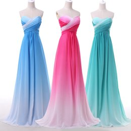 Wholesale Sweetheart Gradient Prom Dress - Beidesmaids Dress Backless 2016 Simple Gradient Ombre Dresses Prom Dress Evening Wear Formal Party Gown Celebrity Gowns Bridesmaids Dress