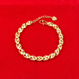 Wholesale Charm 18K Yellow Gold Filled Women's Bracelet filigree heart GF Lady link Chains free new