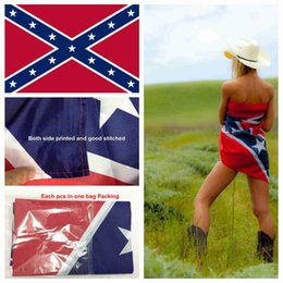 Wholesale High quality Double side print x5FT American confederate flag REBEL flag civil war flag southern battle flag