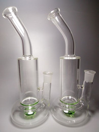 Wholesale Glass Bongs Recycler Glass Bongs Dab Rig Two Fuction With Turbine Disc Percolator cm Height mm Joint