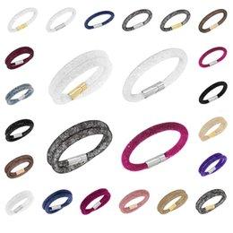 Descuento broches para los encantos 2015 la venta del nuevo pulseras de malla Stardust con Piedras de Cristal Filled magnética capa de cierre encanto pulseras brazaletes doble Wrap10 PC NRA015