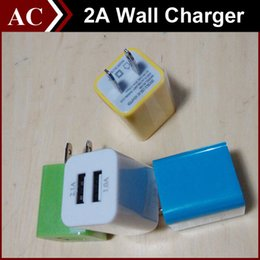 Wholesale 2A Universal Square Wall Charger Plug US EU Dual USB AC Power Travel Home Adapter ports Direct Charger for Samsung HTC LG All Phone Best