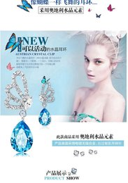 Wholesale Brand Crystal Butterfly Earrings Necklace Set Fashion Austrian Candy Water Drop Pendant Necklaces For Womens Jewelry Wedding