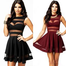 Wholesale Sexy Повседневные платья для женщин O образным вырезом сетки панели Элегантный рукавов Мини платье Черный Красный Плюс Размер CB9558