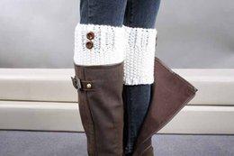 Wholesale Free DHL New Women Leg Warmers Fashion Wood Button Knitted Leg Warmers For Boots Knit Boot Cuffs Crochet Leg Warm