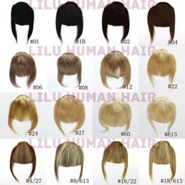 Wholesale Clip ins Front Inclined Bang Fringe Human Hair Extensions Colors Natural Black Blonde Brown Mix Color