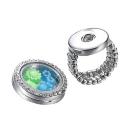 Floating locket rings ajustable noosa button rings 925 silver plated rings Fluorescent letter ring LED stainless steel locket rings